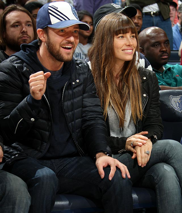 Minority owner Justin Timberlake made his season debut during the Grizzlies game against the Los Angeles Lakers at FedExForum in Memphis on Nov. 23, 2012. He joined the Grizzlies at their shootaround, then spent the first half of the game at mid-court with his wife, actress Jessica Biel. Wearing a blue and white Memphis hat, Timberlake stood up after the first quarter and danced along with the Grizzlies' Grannies and Grandpas, though he stayed at his seat. Timberlake and Biel moved up to one of the lower-level suites for the second half, but stuck around for the whole game. Timberlake had plenty of incentive to show up for the Grizzlies' game against the Lakers. Memphis entered the game owning an NBA-best 8-2 record -- along with the New York Knicks -- to start the 2012-13 season.