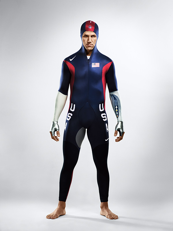 I took this photo of Chad Hedrick, long track speed skater, ahead of the 2006 Winter Olympics. He was extremely confident and that came across clearly in this image. One interesting note is that the swift suit he's wearing was designed for a bent-over skating position, so it was difficult for him to stand upright.