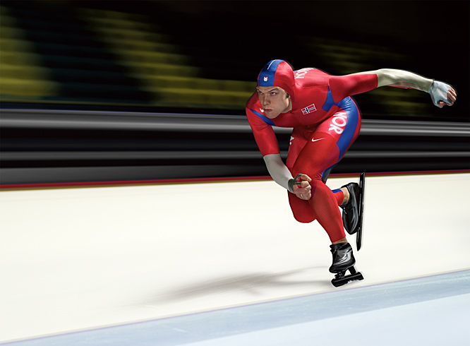 This shot of Eskil Ervik, a Norwegian speed skater, was taken ahead of the 2006 Winter Olympics. It has a superhero quality to it and I think truly portrays the beauty, power and speed of long track. We had only an hour or so to shoot Eskil in a small town in northern Holland. We basically flew straight from the west coast to Amsterdam, then immediately drove several hours to the location. We had a few hours to rest, then started setting up for the shoot shortly thereafter.