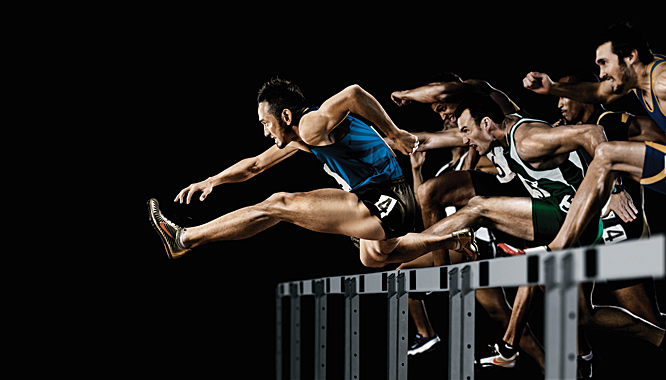 I love this image, but there's more to it than meets the eye. It's Dai Tamesue, Japanese Olympic hurdler in the lead. I photographed him in a  suburb of Tokyo. The other hurdlers were shot later in LA. It's a powerful example of what's possible technically with photography  today.