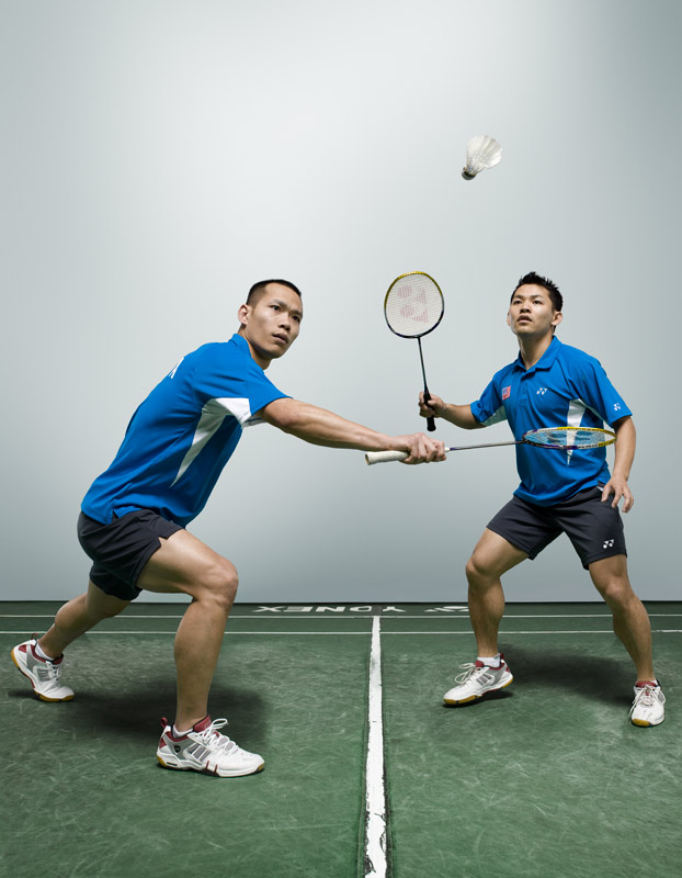 The focus and intensity of badminton is not to be underestimated. I  came away from this shoot with a whole new appreciation of the sport. This image, a composite of two different images of Howard Bach and Bob Malaythong, was taken in the unofficial U.S. badminton capital, Orange, Calif.