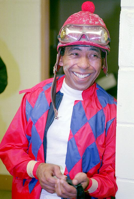 Angel Cordero, one of the top thoroughbred jockeys of all time, wins his 5,000th horse race.