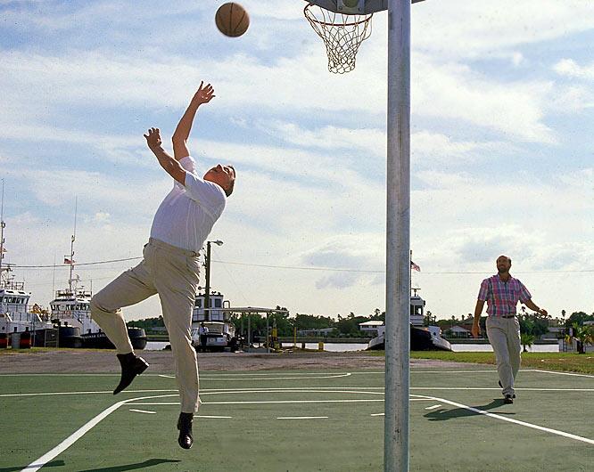 George Steinbrenner practices his sky hook.