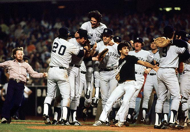 The Yankees celebrate a championship after defeating the Dodgers in Game 6 of the '78 World Series.