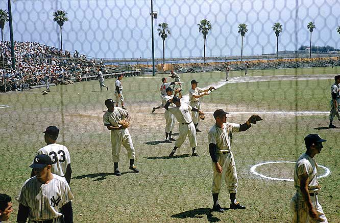 The Yankees play catch during a workout at their spring training complex in St. Petersburg.