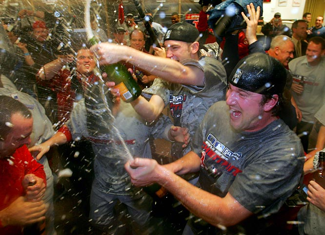Mayhem ensues in the Red Sox locker room after the Red Sox defeated the Cardinals for their first World Series victory in 86 years.