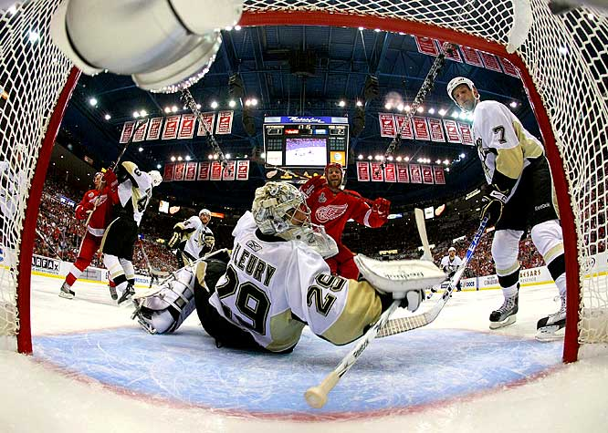 Detroit's Justin Abdelkader (center) celebrates after scoring on Marc-Andre Fleury in Game 1 of the Stanley Cup finals.