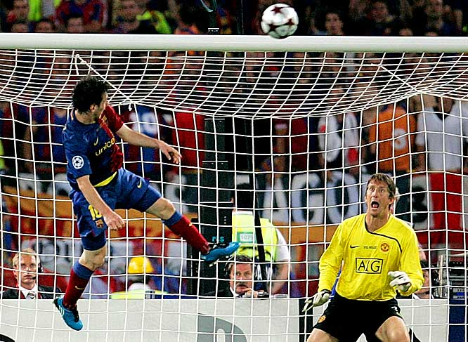 Lionel Messi's 70th-minute header sealed Barcelona's 2-0 win over Manchester United in the Champions League final.