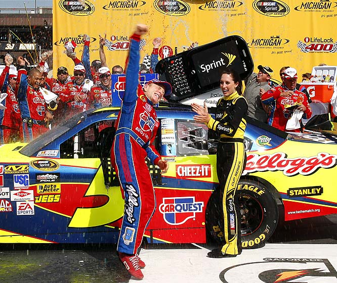 Mark Martin celebrates after his unlucky season took a surprising turn for the best at Michigan on Sunday. His Chevrolet kept just enough gas to get him to his third victory of the season, the 38th of his Cup career.