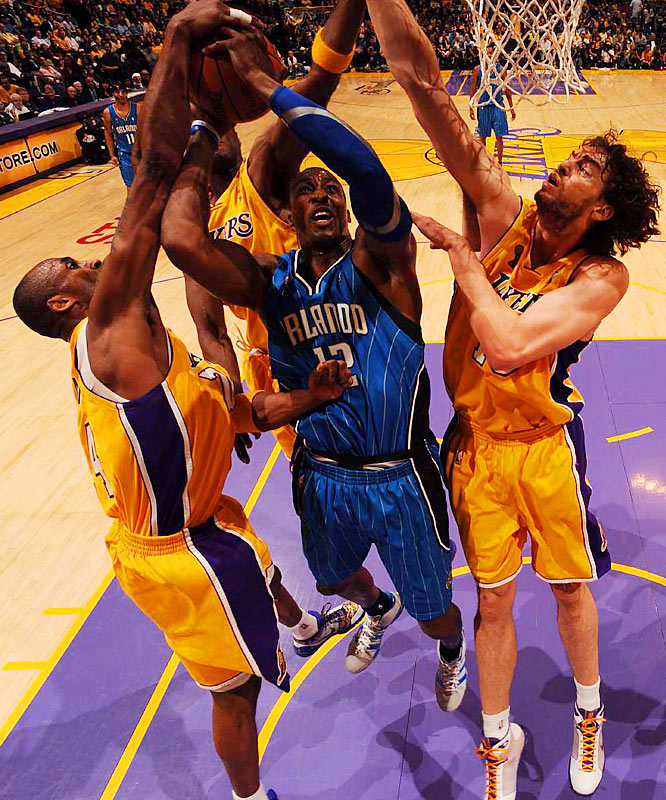 Howard managed only one field (in six attempts) against the Lakers' tall front line.