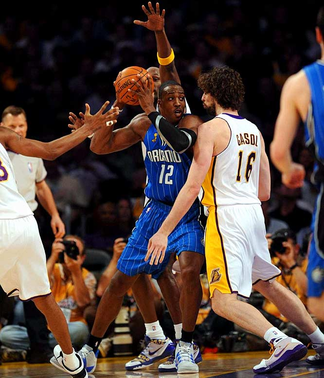 Swarmed by Lakers double teams, Howard attempted only 10 shots in 47 minutes.