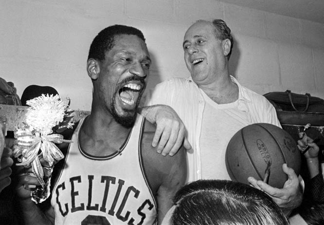 """Calling it a """"great way to go out,"""" Red Auerbach won his eighth consecutive championship (and ninth overall) in his swan song as Boston coach. Auerbach announced during the series that he would be replaced by Bill Russell, who finished with 25 points and 32 rebounds in the decisive Game 7."""
