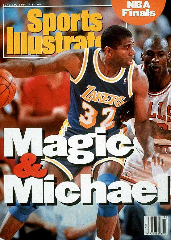 After winning five titles in the 1980s, the Lakers passed the torch to Michael Jordan and the Bulls, who won this series to begin their run of six championships in eight seasons.