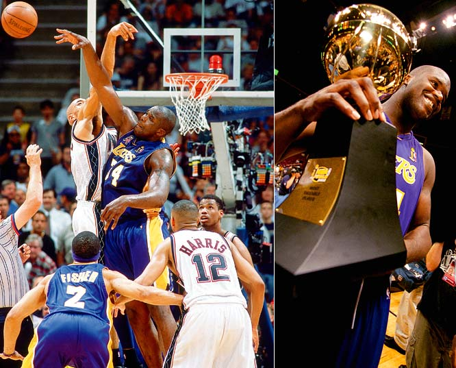 After surviving a classic and controversial series against the Kings in the Western Conference finals, the Lakers swept the Nets for their third consecutive championship. Shaquille O'Neal joined Michael Jordan as the only players to win three Finals MVP awards in a row.