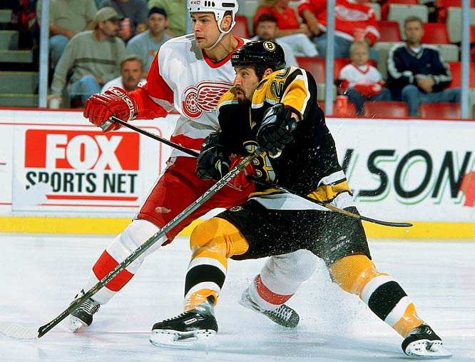 A member of two Stanley Cup teams in eight seasons with Detroit, the gritty checking winger was lured to Boston with the richest deal the Bruins had ever awarded a player: four years worth $20 million. While failing to score more than 17 goals or 40 points in a season, Lapointe earned the title of NHL's most overpaid player and the Bruins were no doubt relieved to see the 2004-05 lockout relieve them of his services.