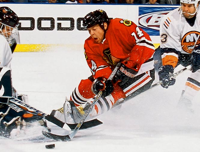 The diminutive but troubled pot-stirrer got a two-year deal worth $8.5 million from the Blackhawks and was promptly suspended 25 games for violating the NHL's substance abuse aftercare program. His brief, tumultuous stay in Chicago, and his NHL career, ended with him being waived before the 2003-04 season after a nightclub incident.