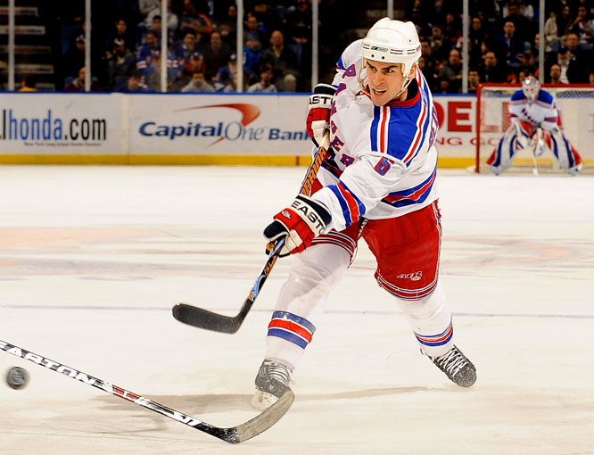 After 11 solid seasons in Ottawa, the puck-moving blueliner received, at age 31, a six-year, $39 million deal in New York where he quickly became a target of Madison Square Garden's blue seat boo birds. He was banished in 2010 to the AHL, where he languished all season as an albatross who counted for $6.5 million against the Rangers' 2011-12 salary cap.