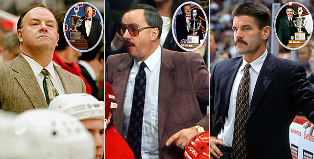 Scotty Bowman, who won a record nine Stanley Cups, earned the Jack Adams Award as coach of the year twice (1977, 1996 -- with Montreal and Detroit, respectively) during his illustrious career. Jacques Demers is the only repeat winner (1987, 88 with Detroit) while Bob Francis remains one of the more obscure choices. Francis earned the Adams in 2002 while guiding the Phoenix Coyotes to a 40-27-9-6 mark, but lasted only another season-and-a-half and has been out of the NHL ever since.