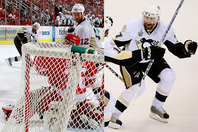 In the Stanley Cup Final, the Penguins were shut out in the first two games, but extended the Red Wings to six games. Their highlight was a Game 5 win in Detroit, set up by Maxime Talbot's tying goal with 35 seconds left, and ended by Petr Sykora in triple overtime.