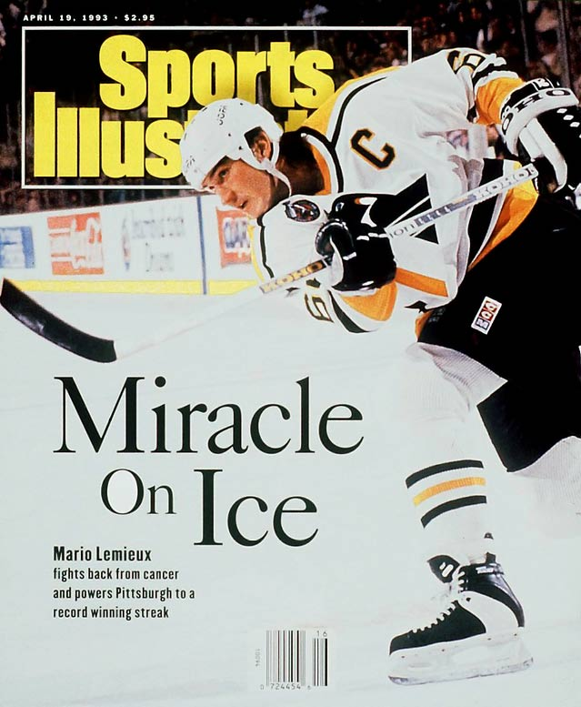 After starting the season with one loss in their first 14 games, the Penguins were stunned by the news that Mario Lemieux had Hodgkin's disease. After missing 23 games, he returned on March 2 and scored a goal in his first game despite a radiation treatment that day. The Pens closed with a record 17 straight wins and won the President's Trophy for the best regular season mark (56-21-7). Yet the Islanders ended their reign as Cup champs with a stunning seven-game, overtime upset in the division final  Lemieux skated off with the Hart, Ross, and Masterton trophies, plus the Lester B. Pearson Award.