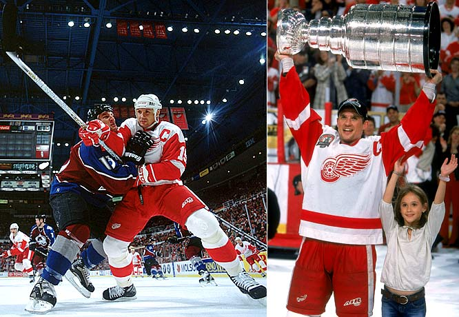 The legendary captain led the Red Wings to three Cups during his 22 seasons in Detroit, scored 692 career goals and earned the Smythe (1998) and Selke trophies (best two-way forward, 2000). Battling injuries through the 2001-02 Cup campaign, he needed eight months of rehab after knee surgery, but came back to win the Masterton Trophy for perseverance and dedication in 2002-03. He now serves as Detroit's VP and will head Team Canada at the 2010 Winter Olympics.