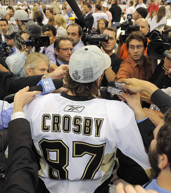 Pittsburgh's Sidney Crosby graciously addressed the media during the team's on-ice Cup ceremony. At 21, Crosby is the youngest captain of a Stanely Cup winner in NHL history.
