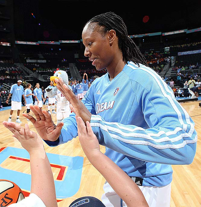 Chamique Holdsclaw (pictured) continues to get hers against the Mystics (she burned them for 13 points and 10 rebounds last Saturday), and rookie Angel McCoughtry finally got hers in the Chicago loss, scoring 26 points and notching eight assists off the bench. If the Dream continues to take care of business on defense -- particularly on the boards, where its plus-5.0 margin ranks second in the league -- that could be enough to put it in position to lock up the East's fourth playoff spot in just its second year of existence.  <br><br>Next three: 6/26 vs. Detroit; 6/27 at Connecticut; 6/30 vs. Minnesota