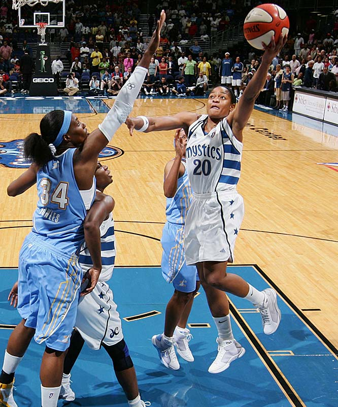 It may have taken five years, but Alana Beard (pictured) is finally playing to the potential that the Mystics saw in her when they made her the second pick in the 2004 draft out of Duke. With averages of 25.5 points, 4.0 rebounds, 2.5 assists and 3.0 steals against the Dream and the Sky last week, Beard kept the Mystics atop the East standings and helped herself to conference Player of the Week honors.<br><br>Next three: 6/25 vs. Phoenix; 6/27 at Chicago; 6/30 at San Antonio