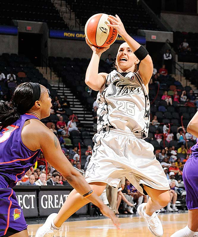 As expected, the Silver Stars floundered in their two games without Becky Hammon (pictured). She took leave to fulfill her playing obligations with the Russian national team and S.A. suffered double-digit road blowout losses to New York and Connecticut. But just as predictably, she led them in her first game back, scoring 19 points against Phoenix -- including a clutch three-pointer with 1:55 to go -- to help the Silver Stars to their second win of the season.<br><br>Next three: 6/26 vs. Sacramento; 6/30 vs. Washington; 7/3 vs. Chicago
