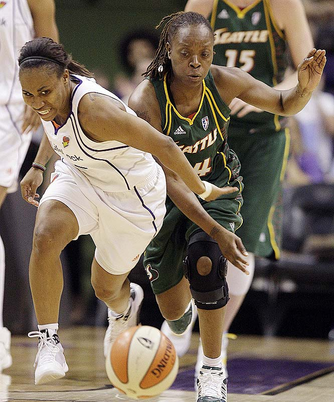 The acquisition of free-agent point guard Shannon Johnson (pictured) was supposed to provide Sue Bird occasion to let loose her scoring potential. Instead, it's had the added benefit of enhancing Bird's powers of playmaking. She leads the league in assists with 7.4 per game. That's a near one assist improvement on the career-high 6.5 apg she set in her second season, in 2003. <br><br>Next three: 6/26 vs. Los Angeles; 6/28 at Los Angeles; 7/1 at Phoenix