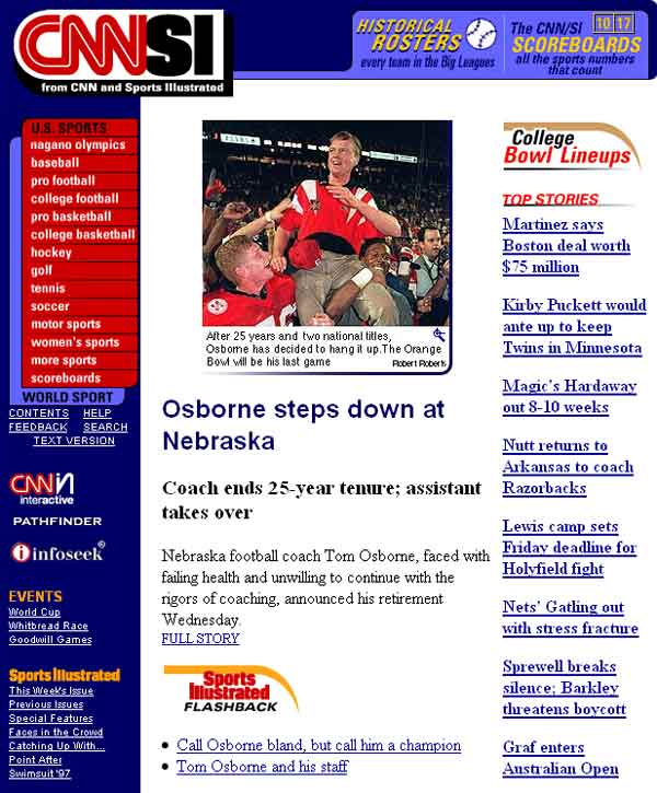 SI.com launched the latest redesign of its homepage today. Here is a look back at the site since its launch in 1997.