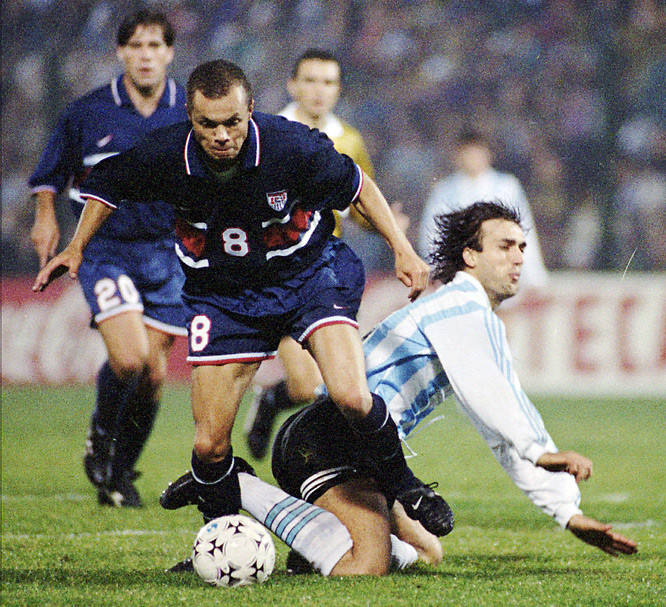 For the second time, the U.S. was a special invite to South America's championship, and maybe the organizers ended up regretting it. Argentina had already qualified for the knockout rounds, but still fielded a powerful starting lineup that included stars Gabriel Batitusta (pictured, on ground) and Roberto Ayala. Still, Ernie Stewart (8) and the Americans stunned the two-time World Cup champions 3-0 behind goals from Frank Klopas, Alexi Lalas and Eric Wynalda. It was the U.S.' first-ever victory over Argentina.