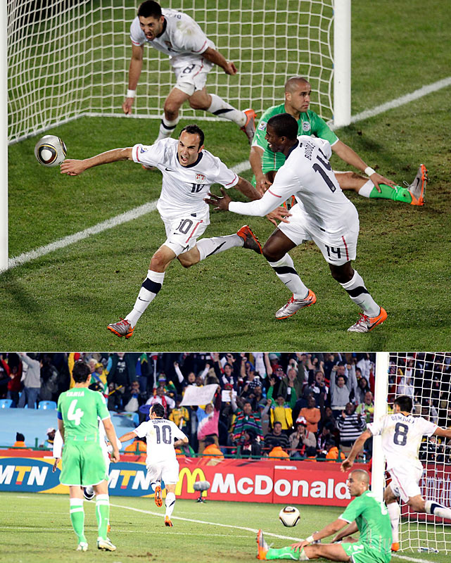 Landon Donovan broke a 0-0 tie with a goal in the 91st minute to give the U.S. a victory over Algeria that sent it into the round of 16 as the winners of Group C. It was the first time since 1930 that the U.S. topped its group.