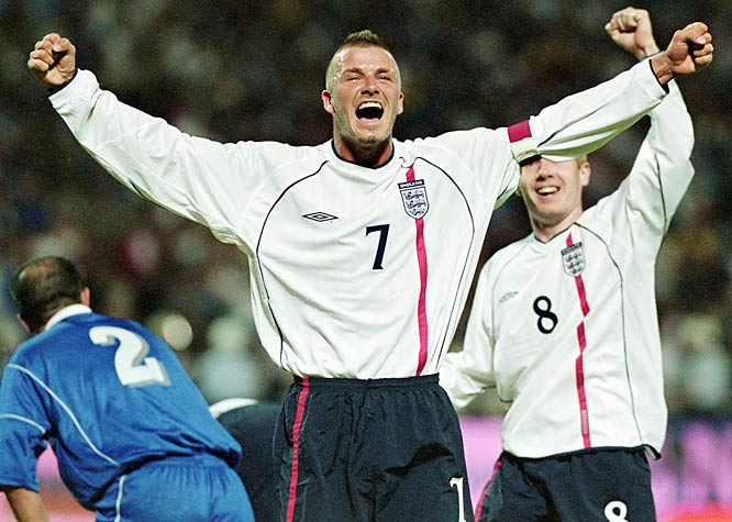 With only seconds left on the clock, England was trailing Greece 2-1 in the game that would determine England's inclusion in the 2002 World Cup. Beckham saved the day for the Three Lions. As millions of fans held their breaths, the team captain curled in a free-kick to force the draw and secure a place for England in South Korea/Japan.