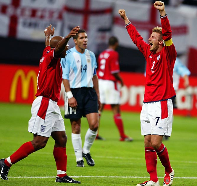 Beckham made up for his 1998 red card by scoring the game's only goal vs. Argentina, a penalty kick in the 44th minute. The win revived England's hopes of advancing from group play and ended up preventing the heavily favored Argentines from doing so themselves.