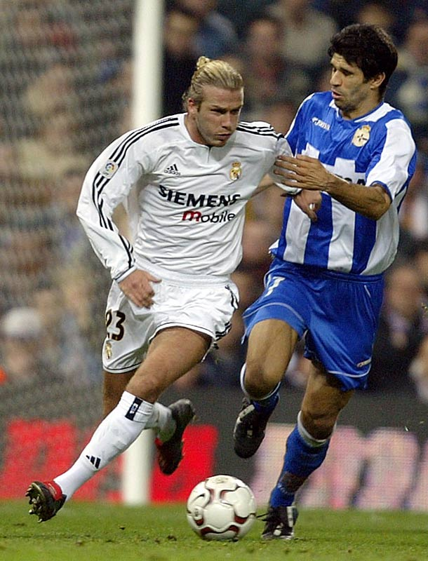 After 12 years, six Premier League titles, two FA Cups and the 1999 UEFA Champions League title, Beckham left Manchester United, signing for Spanish rival Real Madrid in a $25 million deal. Since club captain Raul already wore No. 7 jersey (Beckham's number for Man U), Becks chose to wear No. 23 in honor of his favorite basketball player, Michael Jordan.