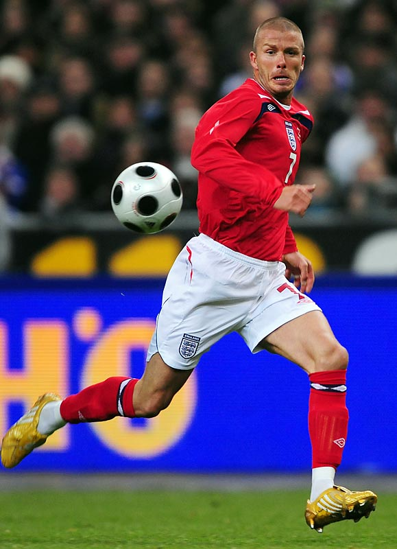 Beckham became the fifth Englishman in history to earn 100 caps with his national team in March 2008.