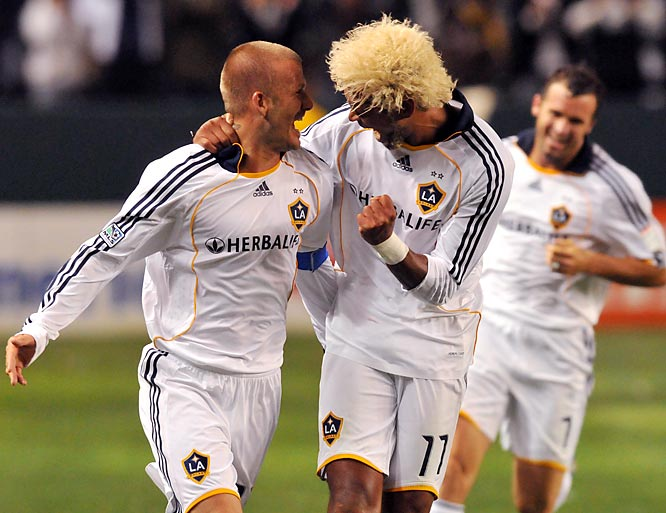 Beckham scored on an empty net from 70 yards out in a game against the Kansas City Wizards (his second career goal from his own half). The Galaxy took the game 3-1, pushing them to their first winning record in two years and into first place in the Western Conference.