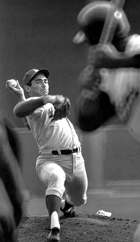 It was a stunning start to the series: losses by Don Drysdale in Game 1 and Sandy Koufax in Game 2. But L.A.'s third best pitcher (lefthander Claude Osteen) blanked the Twins in Game 3 to start the comeback, and Koufax ended up winning Games 5 and 7 (Drysdale won Game 6). It was L.A.'s second World Series title in three years.