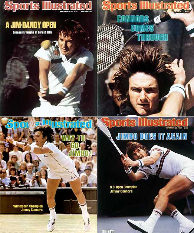 Australian Open (1974)   Wimbledon (1974, '82)   US Open (1974, '76, '78, '82, '83)     Connors, who spent 160 weeks at No. 1, is the only player to win the U.S. Open title on grass, clay and hard courts. He never managed to win the French Open, though he made the semifinals at Roland Garros on four occasions.