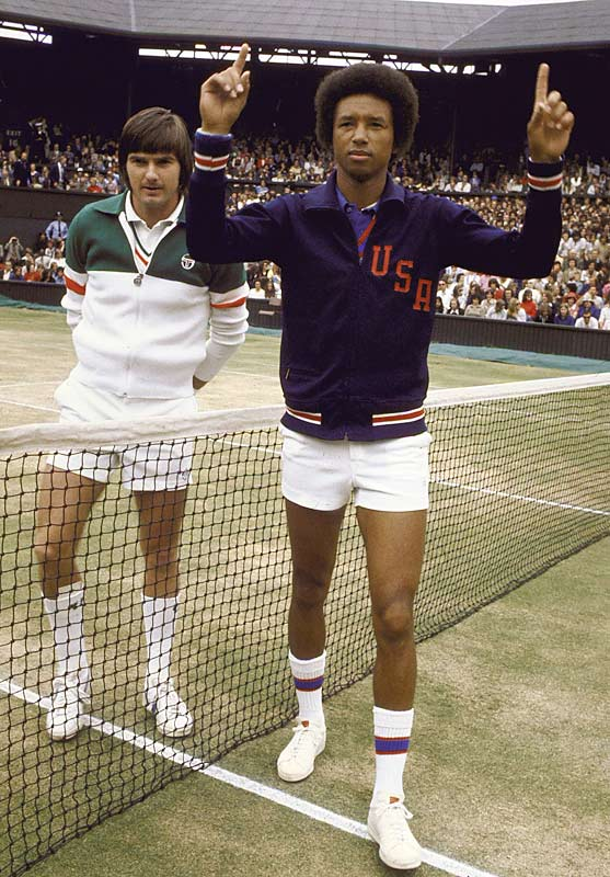 Days shy of his 32nd birthday, Arthur Ashe faced off against the heavily favored Jimmy Connors, the 22-year-old defending champ. Ashe kept Connors off guard all match with a mix of pace and angles, winning in four sets. The victory was Ashe's first Wimbledon title and third Grand Slam overall, but more than that, the victory made him the first black male player to win the championship.