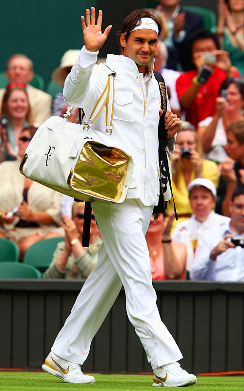 The All England Club's rule that players wear mostly white, conservative apparel hasn't stopped Roger Federer from making a fashion statement at Wimbledon. Here's a look at what he and others are wearing at this year's tournament.