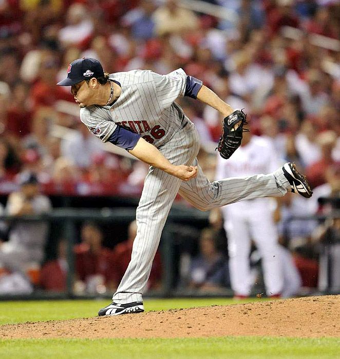 Joe Nathan was part of an American League staff that at one point retired 18 straight National League hitters.