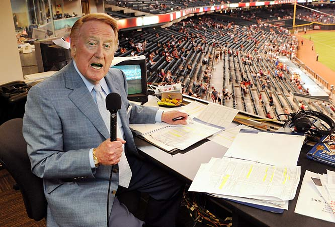 The legends now broadcast from the booth in the sky: Mel Allen and Red Barber came and went long before my time; Harry Kalas recently passed and Ernie Harwell has long retired. Only Vin Scully remains, a lyrical constant between Jackie Robinson and Manny Ramirez. Others will rank exotic sports destinations at the top of their bucket list but my top pick involves working for a night. I'd like to serve as Scully's stat man for a game in L.A., helping baseball's Mozart compose another symphony.