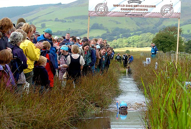 Add A LOT of water to dirt and you'll get a bog, which is the ideal location for bog snorkeling competitions such as the World Competition at Llanwrtyd-Wells, Wales. Competitors make their way through two lengths of a 394-foot peat bog while navigating through weeds and bugs and muck.