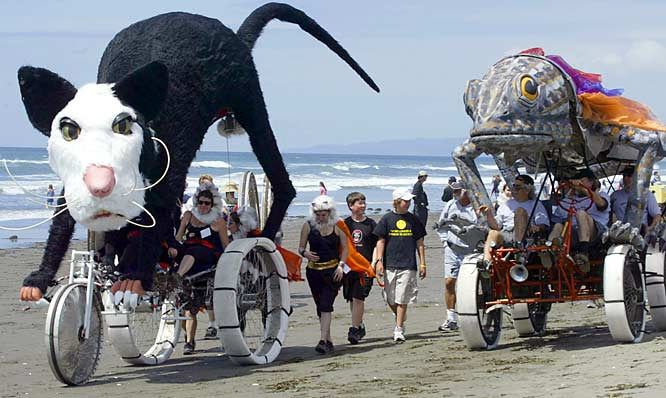 "Perhaps the ultimate road race, the annual Great Arcata to Ferndale World Championship Kinetic Sculpture Race in California offers three days of awesome pedal-powered creations competing over 41 miles of road (bad and otherwise) and water, thus its nickname ""Triathlon of the Art World."""