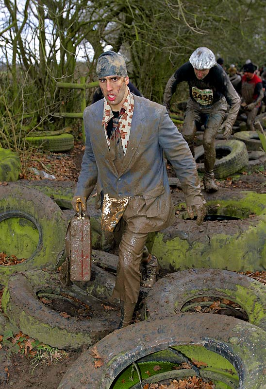 The twice-yearly Tough Guy Jungle Warrior vs. Genghis Khan race at South Perton, Staffordshire, England is an event for those who love their sports down and dirty. The event is held on a military-style assault course and contestants dress accordingly.