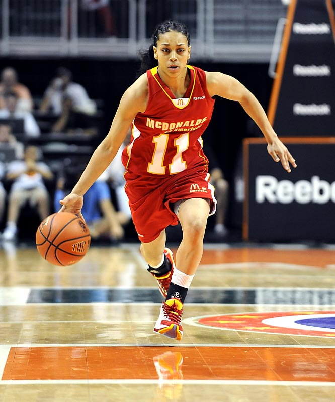 At 5-foot-5, the Virginia-bound New Yorker was the shortest player in the McDonald's All American game, but she still outlasted her competition in the skills competition, which tested her speed, passing and ballhandling.