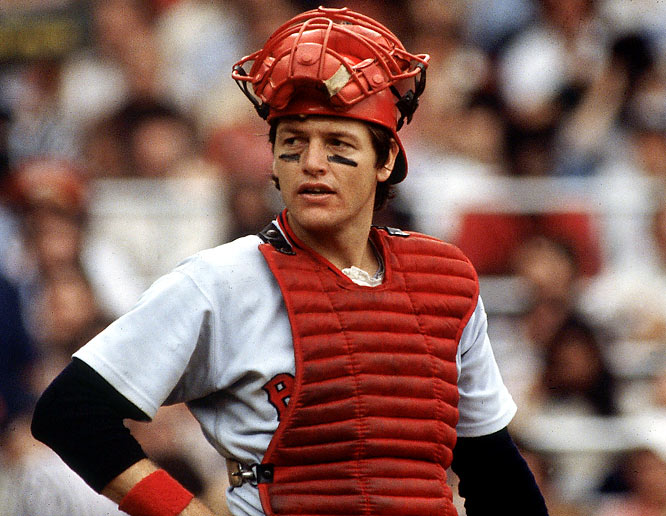 Carlton Fisk during a game against the Yankees. The catcher would leave the Red Sox for the White Sox after the 1980 season, when his contract was mailed a day late, allowing him to become a free agent.