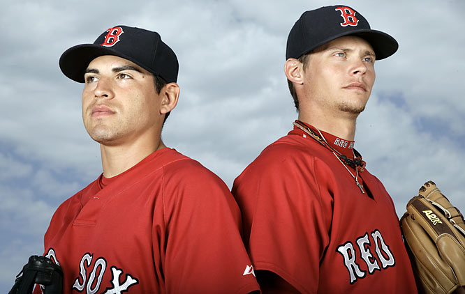 Jacoby Ellsbury and Clay Buchholz pose during a 2008 spring training photo shoot. Though their best years appear to be ahead of them, Buchholz has already thrown a no-hitter and Ellsbury played a key role in Boston's 2007 World Series championship. <br><br>Send comments to siwriters@simail.com.